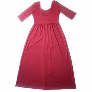 Women's Red Empire 1/2 Sleeve Maxi Dress Sz L